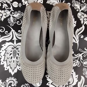 Cole Haan Gray perforated leather suede flats 8.5